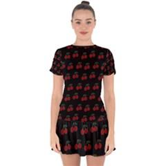 Cherries Black Drop Hem Mini Chiffon Dress