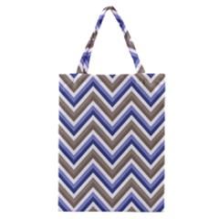 Chevron Blue Beige Classic Tote Bag