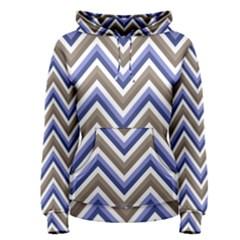 Chevron Blue Beige Women s Pullover Hoodie