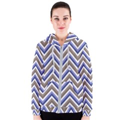 Chevron Blue Beige Women s Zipper Hoodie