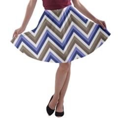 Chevron Blue Beige A Line Skater Skirt