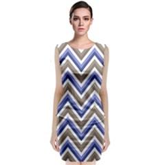Chevron Blue Beige Classic Sleeveless Midi Dress