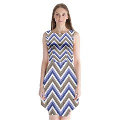 Chevron Blue Beige Sleeveless Chiffon Dress