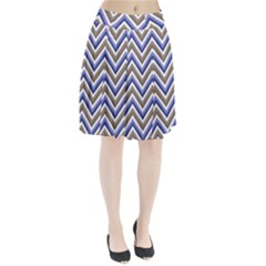 Chevron Blue Beige Pleated Skirt