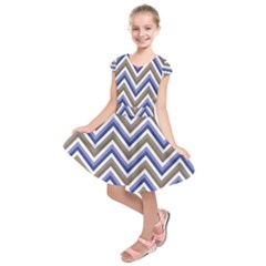 Chevron Blue Beige Kids  Short Sleeve Dress