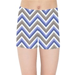 Chevron Blue Beige Kids Sports Shorts