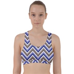 Chevron Blue Beige Back Weave Sports Bra