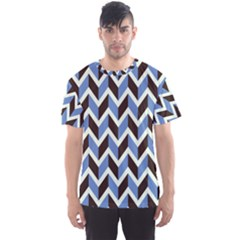Chevron Blue Brown Men s Sports Mesh Tee