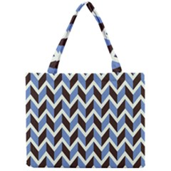 Chevron Blue Brown Mini Tote Bag