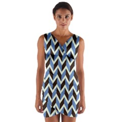 Chevron Blue Brown Wrap Front Bodycon Dress