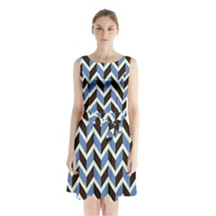 Chevron Blue Brown Sleeveless Waist Tie Chiffon Dress