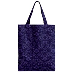 Damask Purple Zipper Classic Tote Bag
