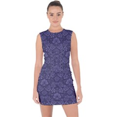 Damask Purple Lace Up Front Bodycon Dress