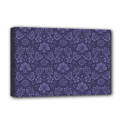 Damask Purple Deluxe Canvas 18  X 12