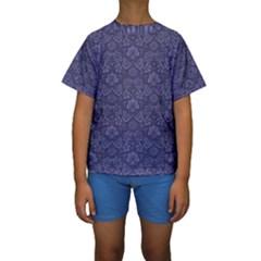 Damask Purple Kids  Short Sleeve Swimwear