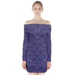 Damask Purple Long Sleeve Off Shoulder Dress