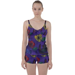 Flowers Tie Front Two Piece Tankini