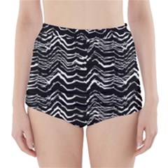 Dark Abstract Pattern High Waisted Bikini Bottoms