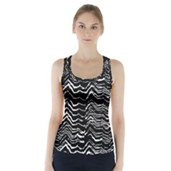 Dark Abstract Pattern Racer Back Sports Top