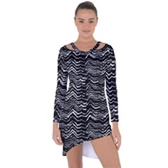 Dark Abstract Pattern Asymmetric Cut Out Shift Dress