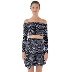 Dark Abstract Pattern Off Shoulder Top With Skirt Set