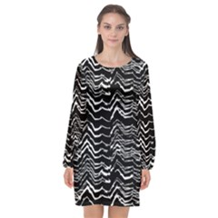 Dark Abstract Pattern Long Sleeve Chiffon Shift Dress