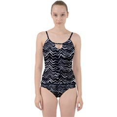 Dark Abstract Pattern Cut Out Top Tankini Set