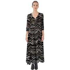 Dark Abstract Pattern Button Up Boho Maxi Dress