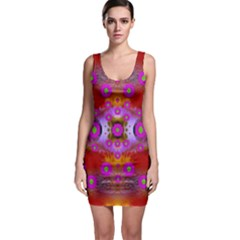 Shimmering Pond With Lotus Bloom Bodycon Dress