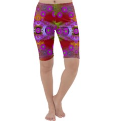 Shimmering Pond With Lotus Bloom Cropped Leggings