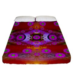 Shimmering Pond With Lotus Bloom Fitted Sheet (california King Size)