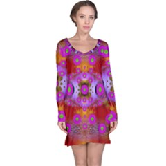 Shimmering Pond With Lotus Bloom Long Sleeve Nightdress