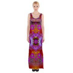 Shimmering Pond With Lotus Bloom Maxi Thigh Split Dress