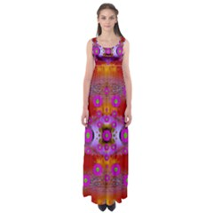 Shimmering Pond With Lotus Bloom Empire Waist Maxi Dress