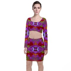 Shimmering Pond With Lotus Bloom Long Sleeve Crop Top & Bodycon Skirt Set