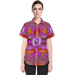 Shimmering Pond With Lotus Bloom Women s Short Sleeve Shirt