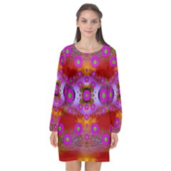 Shimmering Pond With Lotus Bloom Long Sleeve Chiffon Shift Dress
