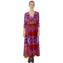 Shimmering Pond With Lotus Bloom Button Up Boho Maxi Dress