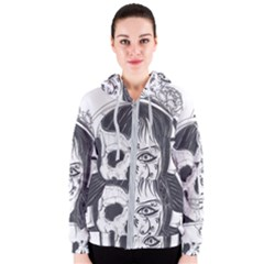 Womans Head With Half Face Skull Engraved 1441 833 Women s Zipper Hoodie