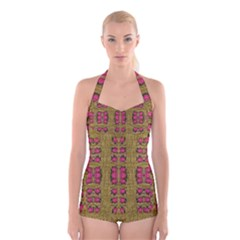 Bloom In Gold Shine And You Shall Be Strong Boyleg Halter Swimsuit