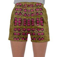 Bloom In Gold Shine And You Shall Be Strong Sleepwear Shorts