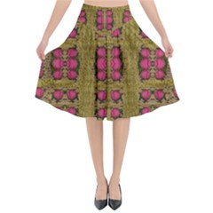 Bloom In Gold Shine And You Shall Be Strong Flared Midi Skirt