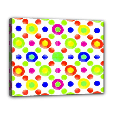 Multicolored Circles Motif Pattern Canvas 14  X 11