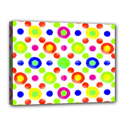 Multicolored Circles Motif Pattern Canvas 16  X 12