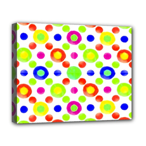 Multicolored Circles Motif Pattern Deluxe Canvas 20  X 16