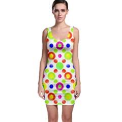 Multicolored Circles Motif Pattern Bodycon Dress