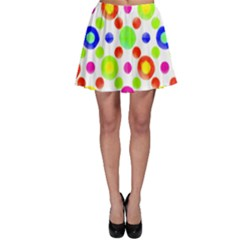 Multicolored Circles Motif Pattern Skater Skirt