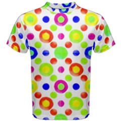 Multicolored Circles Motif Pattern Men s Cotton Tee