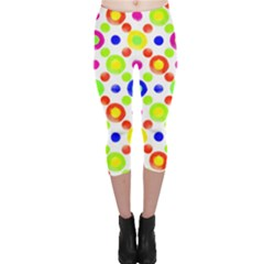 Multicolored Circles Motif Pattern Capri Leggings