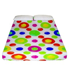 Multicolored Circles Motif Pattern Fitted Sheet (queen Size)